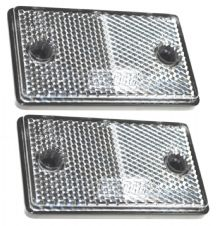 2x FRONT CLEAR ADHESIVE REFLECTORS TRAILER CARAVAN GATE CAR HORSEBOX 75x46x10
